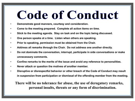 Mba Code Of Conduct Website by Code Of Conduct Timberton Home Owners Assocation