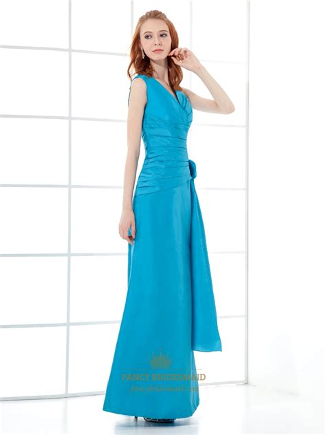 Blus Taffeta blue taffeta v neck sheath bridesmaid dresses with flower