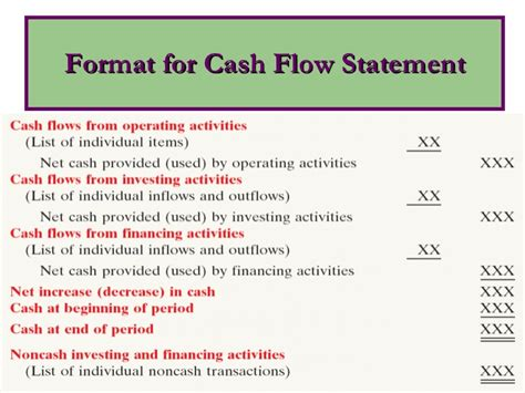 general format of cash flow statement cash flow statement