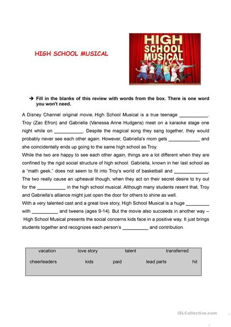 Worksheets For High School by High School Musical Review Worksheet Free Esl Printable