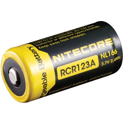 Nitecore Rcr123a Rechargeable Li Ion Battery 650mah 3 7v Nl166 Nitecore Rcr123a Li Ion Rechargeable Battery 3 7v 650mah