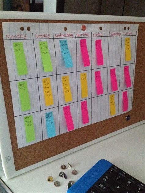organise study timetable for exams with sticky notes uni