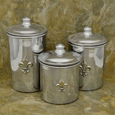 stainless steel fleur de lis finials canister set kitchen 4pc tuscan silver new ebay fleur de lis stainless steel small canister set decor le