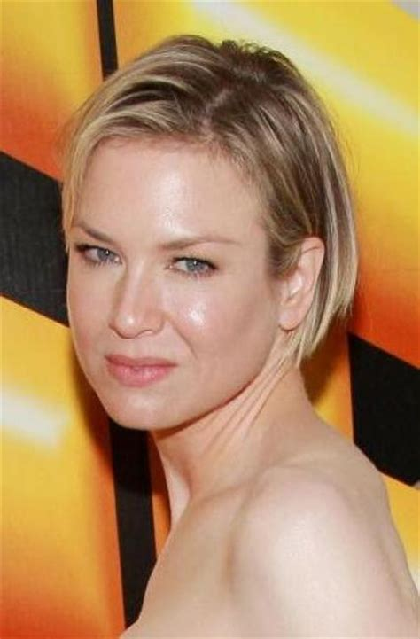 box bob tucked behind one ear celebrity hairstyles ren 233 e zellweger with a bob 375384