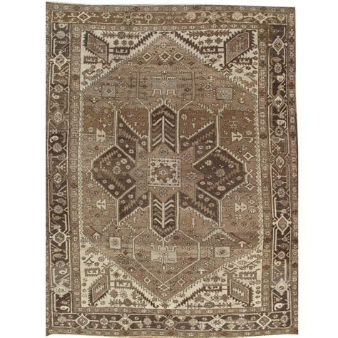 Brown And Rugs by Antique Serapi Carpet Knotted Wool Rug