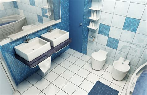 Bathroom Ceramic Wall Tile Ideas Double White Toilet Bowl And Sink With Grey Wooden Vanity