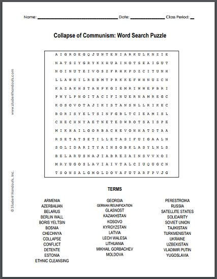 Collapse Of Communism Word Search Puzzle Student Handouts