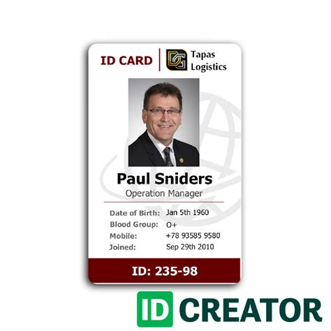 professional employee id card from idcreator