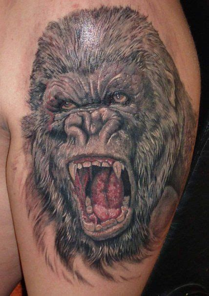 gorilla tattoo meaning realistic angry gorilla real photo pictures images