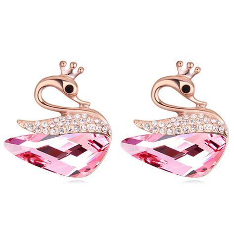 animal earrings for swan stud earrings austrian