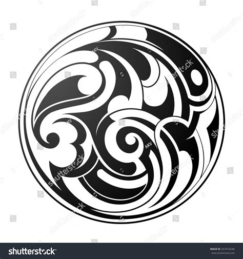 round tribal tattoo tribal stock vector 257419246