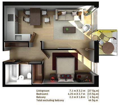 1 bedroom flat hatfield one bed flat floor plan 3d rooms pinterest house