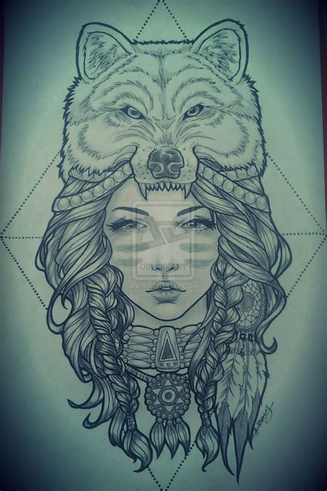 native american girl tattoo headdress wolf headdress