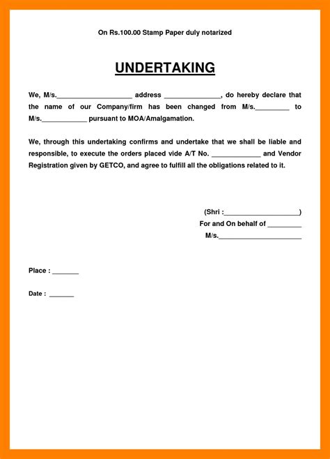 Exles Letter Of Undertaking Template Business Letter Format Of Letter Template