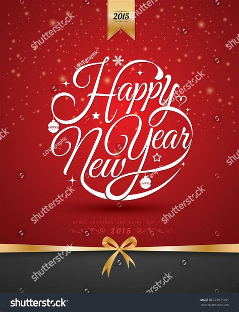 design free new year card happy new year lettering greeting card stock vector