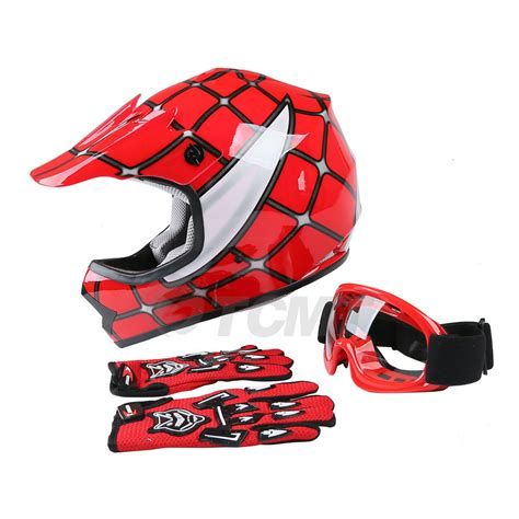 motocross gloves usa youth red spider net dirt bike motocross mx helmet goggles