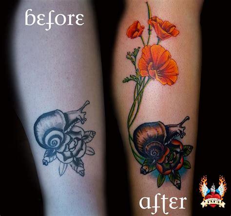 flower tattoo rework snail poppies rework by beth swilling tattoonow
