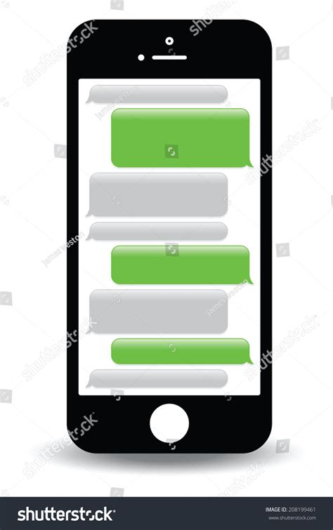 messenger for mobile phone green mobile phone text messaging screen stock vector
