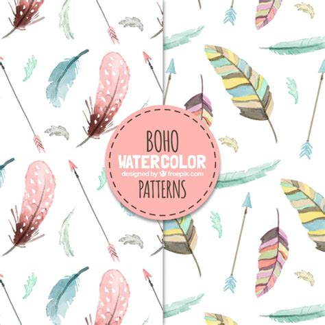 free vector watercolor bohemian feather pattern download boho patterns with watercolor feathers vector free download
