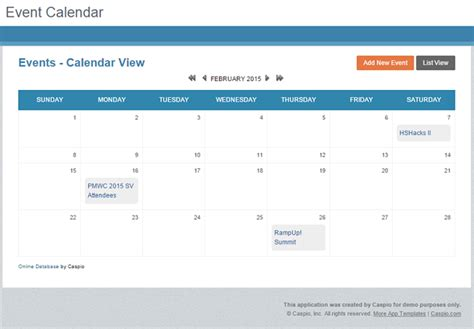 Event Calendar Template For Website by Free App Event Calendar For Any Website Caspio