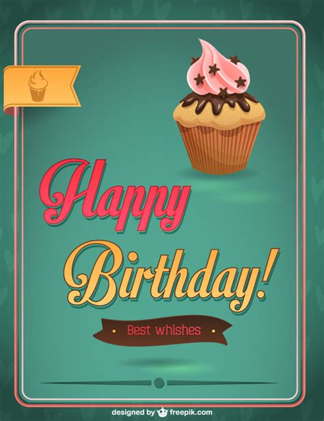 happy birthday design for cupcakes happy birthday cupcake design vector free download