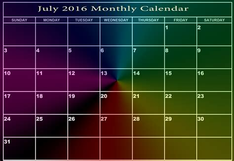 printable monthly calendar 2016 india printable july 2016 monthly calendar printable 2018