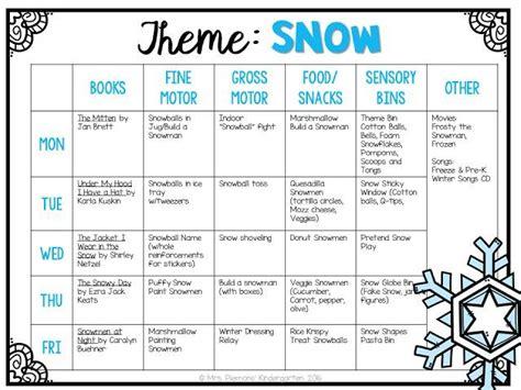 educational themes for january tot school winter kindergarten classroom tot school