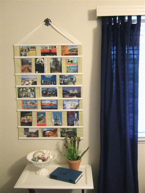 hanging photo display hanging postcard collage crafty nest