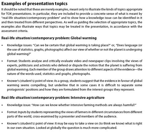 Ib Tok Presentation Ideas Nothingnerdy Examples Of Tok Presentation Topics