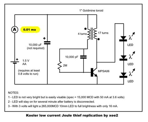 adding capacitor to joule thief joule thief