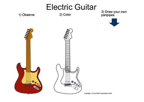 electric guitar coloring pages hellokids com