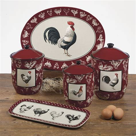 rooster canisters kitchen products country rooster canisters country living