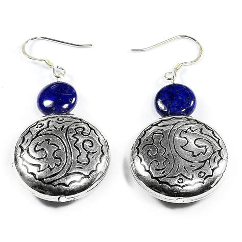 Handmade Silver Jewelry Uk - lapis lazuli 925 sterling silver earrings handmade