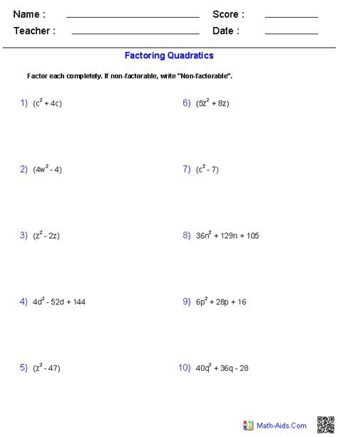 factoring quadratics worksheet answer key worksheets joy