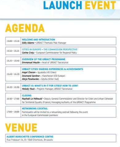 event planning agenda template 6 event agenda sle free sle exle format