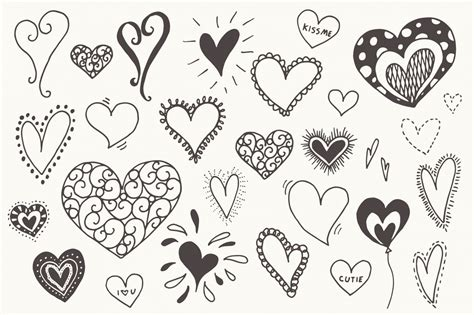 doodle glam drawing doodle hearts clip vectors by the pen brush