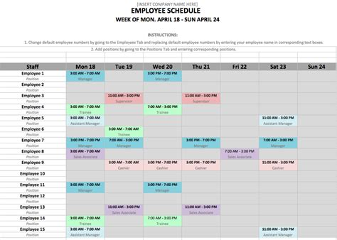 employee calendar template employee schedule template in excel and word format