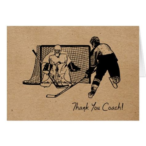 Hockey Birthday Card Template by Thank You Hockey Coach Card Ink Sketch Zazzle
