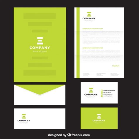 Business Letterhead Vector Free bright green company stationery vector free