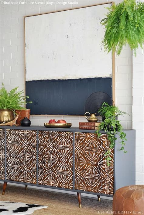 tribal pattern furniture tribal furniture stencils idea on global chic diy upcycle