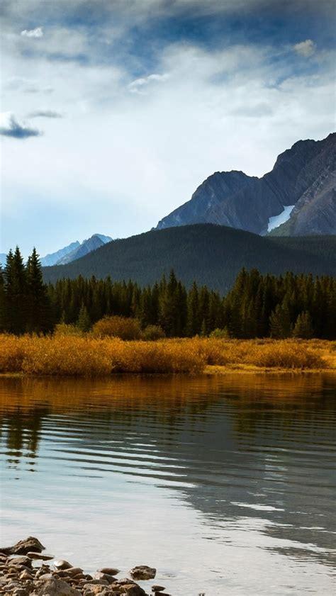 wallpaper canada alberta autumn mountains forest lake