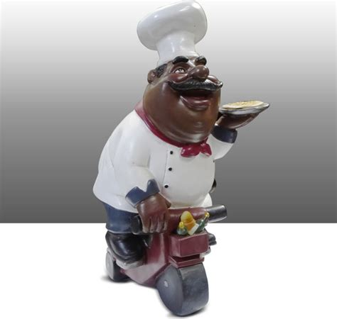 Black Chef Kitchen Decor by Black Chef Kitchen Statue On Bike Table Decor