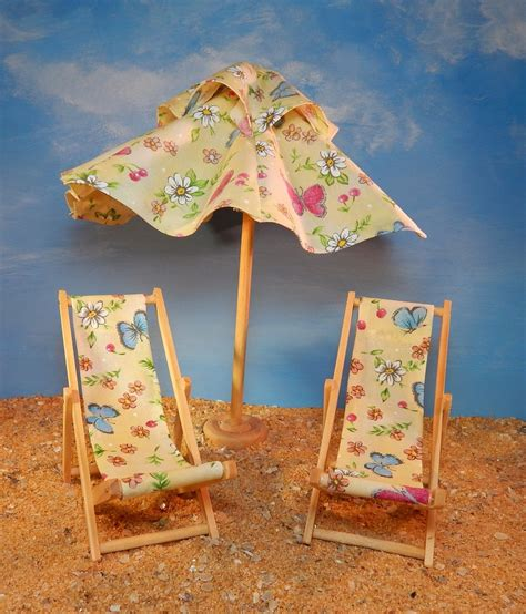 Handmade Umbrellas Uk - dollhouse miniature handmade lounging chairs and umbrella in