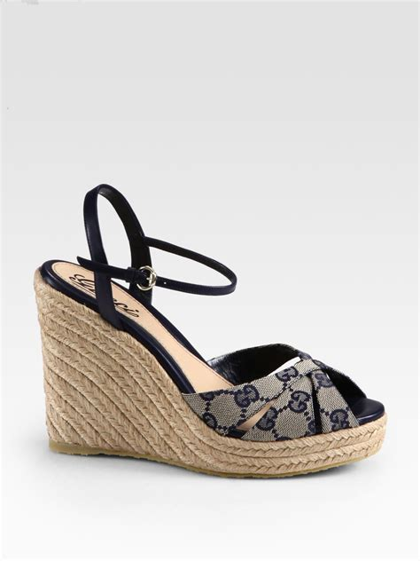Gucci Wedges Brown lyst gucci penelope gg canvas espadrille wedges in brown