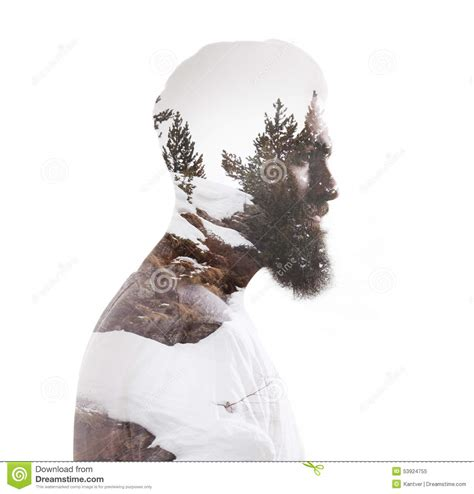 tree portraits exposure portrait of a bearded and tree stock