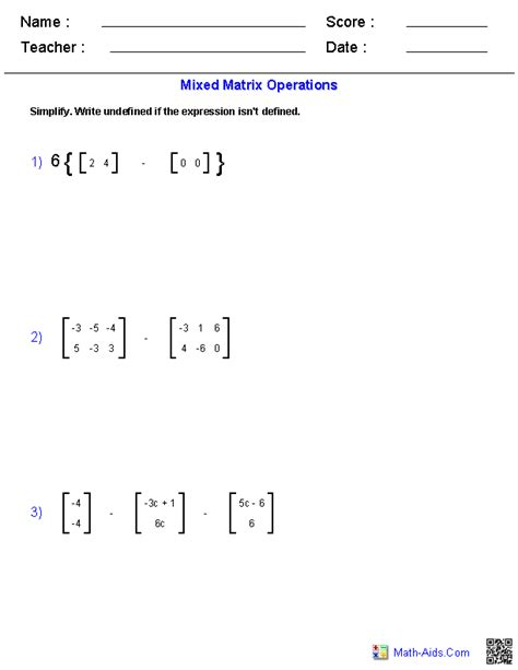 Mixed Operations Matrices Worksheets | Algebra 2
