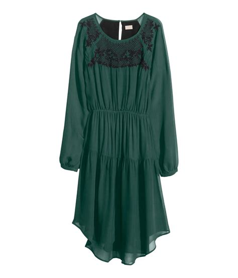 green beaded dress h m dress with beaded embroidery in green lyst