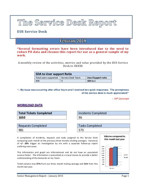 it service desk report templates senior management service desk report sle