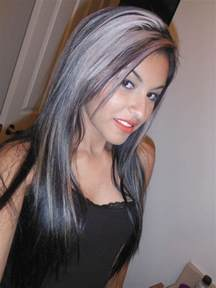 pictures of grey hairstyles with pink highlights dark hair with silver highlights love it silver streak