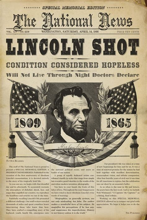 history of abraham lincoln biography 28 newspaper headlines from the past that document history